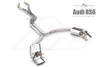Fi-Exhaust Audi RS6 2012+ Front Pipe + Mid X Pipe + Rear Mufflers + Dual Silver Tips(Compitable with OEM elect. Valve - No Remote Control Including)