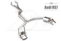 Fi-Exhaust Audi RS7 2012+ Front Pipe + Mid X Pipe + Rear Mufflers + Dual Silver Tips(Compitable with OEM elect. Valve - No Remote Control Including)