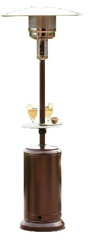 Hammered Bronze Outdoor Patio Heater with Table