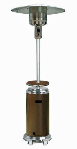 Stainless Steel/ Hammered Bronze Outdoor Patio Heater with Table