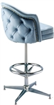 Studded Tufted Wing Pedestal Stool