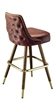 Studded Tufted  Mid-Century Bar Stool