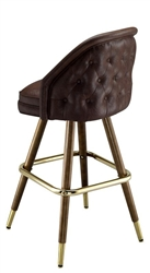 Tufted Wide Mid-Century Bar Stool