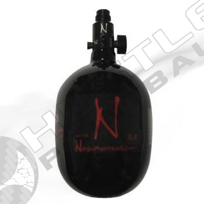 Ninja Paintball 50 cu 4500 psi Carbon Fiber HPA Tank - Aluminum Bonnet (Ultralight with Nano Gauge)