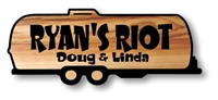 WOODEN CAMP SIGN - RUSTIC CARVED AIRSTREAM