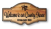 Custom Carved Cottage Welcome Signs of Outdoor-Happy Cedar