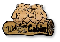KISSING BEARS RUSTIC CABIN SIGN