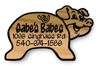 CARVED RUSTIC WOOD CRITTER PIG SIGNS