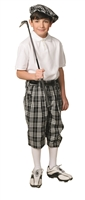 Children's Golf Outfit - Black Check Knickers, Matching Cap, White Socks and White Polo.