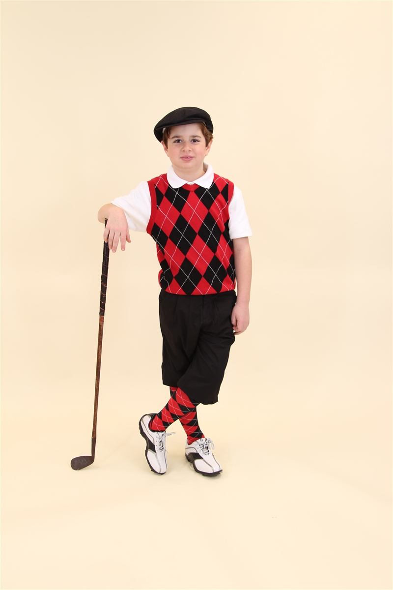 Childrenu0026#39;s Golf Outfit - Black Red White Overstitch