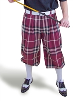 Maroon Plaid Golf Knickers for Men