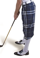 Navy Plaid Golf Knickers for Men