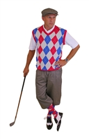 grey golf knicker with Red Blue Grye argyle sweater and sock