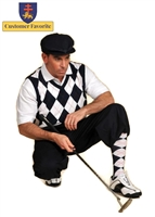 Men's Golf Outfit - Solid Navy Stewart Knickers, White/Navy/Red Overstitch Sweater, Socks and Cap