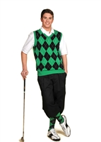 Men's Golf Outfit - Black/Green/White Overstitch
