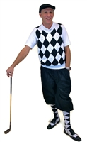 Men's Golf Outfit - White/Black/Grey Overstitch