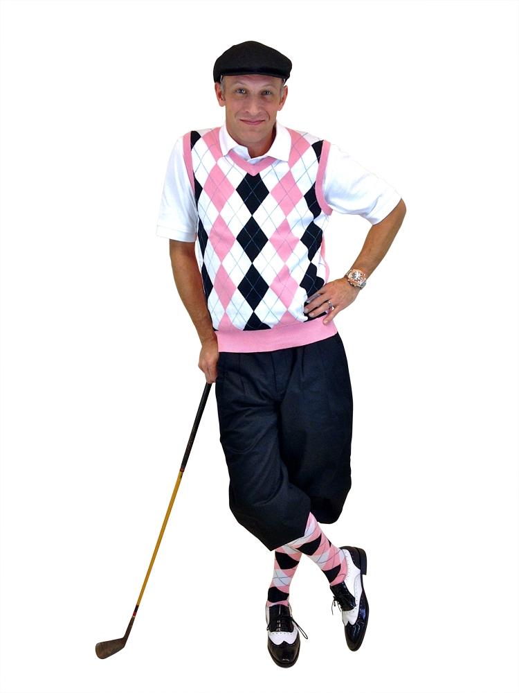 s golf white black pink light blue overstitch