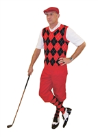 Men's Golf Outfit-Red Knickers Flat Cap Red Black Argyle Sweater and Sock