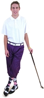 Mens Golf Outfit Purple Knickers Cap Polo Socks