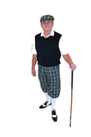 Kings Cross Green Plaid Golf Knickers Outfit with Black sweater vest