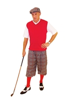Men's Golf Outfit-Grey Plaid Knickers With red sweater and socks