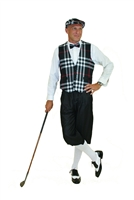 This Ultimate Golf Knickers Outfit features the Kings Cross signature Silk Touch knickers in Grey, white socks, and accompanied by our traditional Turnberry Black Plaid Vest, matching Bow Tie and matching cap.