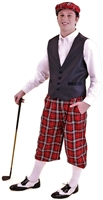 Men's Plaid Outfit - Red Tartan Plaid Knickers and Cap with Navy Vest and White Socks