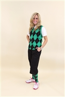 Women's Golf Knickers Outfit - Black Green White Overstitch