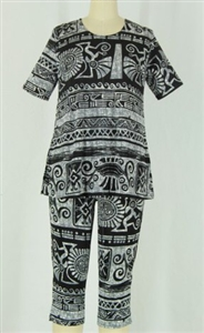 Short Sleeve Capri Set - grey aztec - poly/spandex