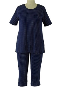 Short Sleeve Capri Set - navy/white polka dots - poly/spandex