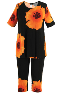 Short Sleeve Capri Set - orange big flower print - poly/spandex