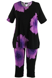 Short Sleeve Capri Set - purple big flower print - poly/spandex