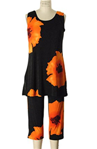 Sleeveless Capri Set - orange big flower prints - poly/spandex
