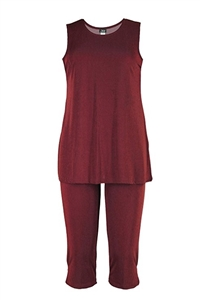 Sleeveless Capri Set - burgundy - poly/spandex