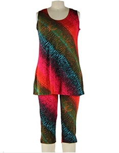 Sleeveless Capri Set - red/green tie dye print - poly/spandex