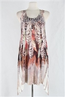 Two point tank dress - white/brown feathers with stones - polyester/spandex