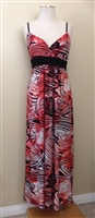 Long tank v-neck dress in coral animal print - polyester/spandex