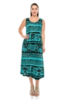 Long tank dress - teal aztec print - polyester/spandex