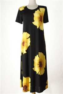 long dress with short sleeves - yellow big flower