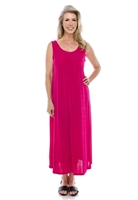 Long tank dress - fuschia - polyester/spandex