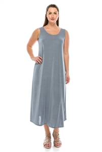 Long tank dress - grey - polyester/spandex