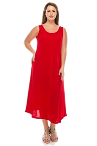 Long tank dress - red - polyester/spandex