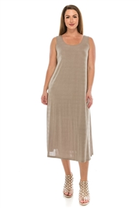 Long tank dress - taupe - polyester/spandex