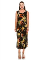 long tank dress in black with colorful leaves - polyester/spandex