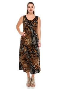 long tank dress in brown/grey - polyester/spandex