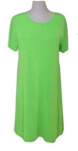 Short sleeve short dress - lime green - polyester/spandex