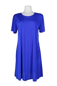 Short sleeve short dress - royal blue - polyester/spandex