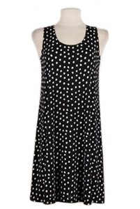 Short tank dress - black/white polka dots - polyester/spandex
