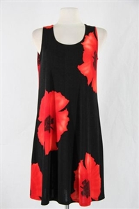 Knee length tank dress - red big flower -  polyester/spandex
