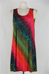 Knee length tank dress - red/green diagonal tie dye print -  polyester/spandex